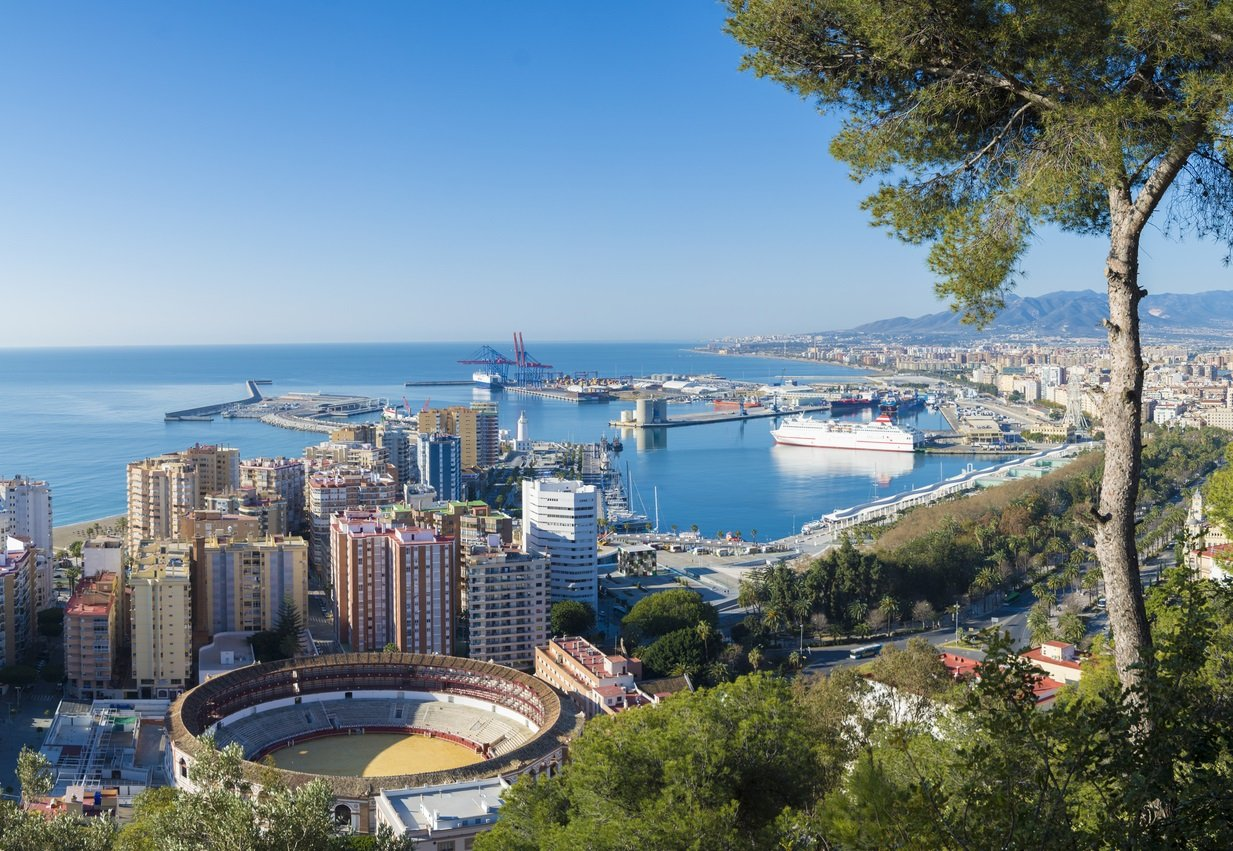 Aerial view of the city and harbour of Malaga in Andalucia, Spain