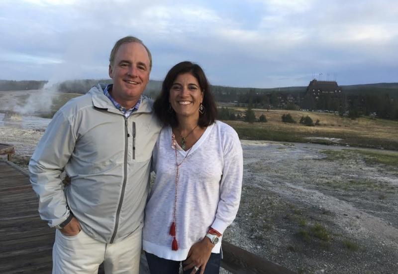 Dan Mahar and his wife in Yellowstone